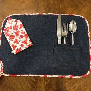 6 Handmade denim reversible placemats with pockets & napkins